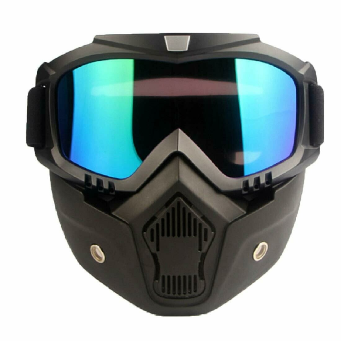 Mortorcycle Mask Detachable Goggles and Mouth Filter black