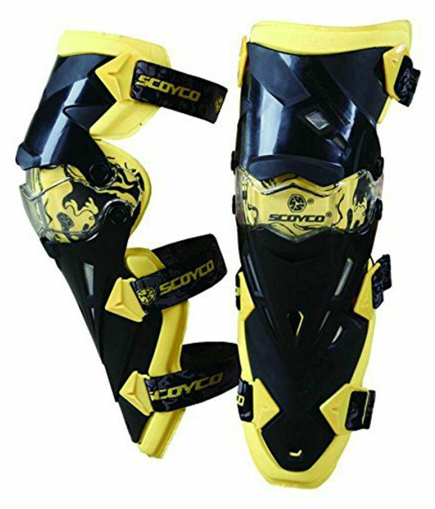 SCOYCO K12 Motorcycle Off-Road Racing Outdoor Sports Knee Protector Guard - Yellow + Black (Pair) Yellow + Black
