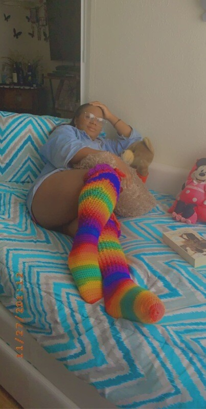 rainbow over the knee socks