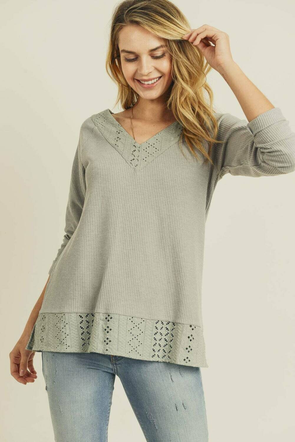 Embroidery Mixed Thermal Long Sleeve Top