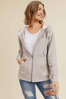 Grey/Pink Zip Hoodie