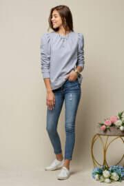 Puff Sleeve Sweatshirt - Gray