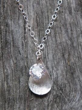 SD CZ Petal Drops Necklace - Clear