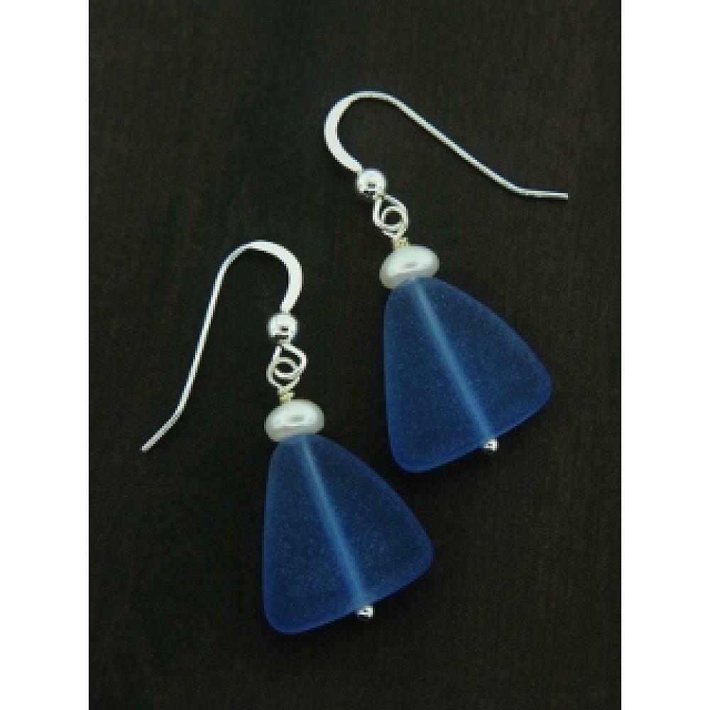 SD Eco Sea Glass w/Pearl Earrings - Cobalt