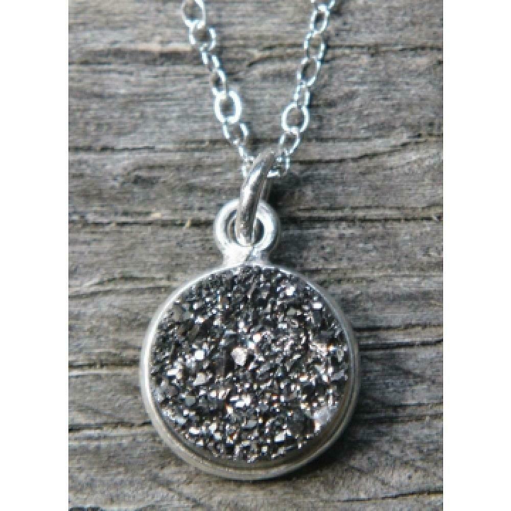 SD Silver Bezel Druzy Necklace
