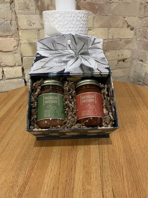 Michigan Awesome Chipotle Bean & Corn Salsa & Smoky & Hot BBQ Sauce Curated Gift Box