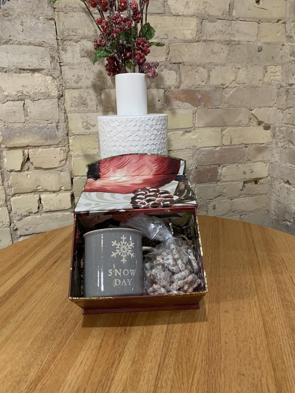 Snow Day Mug and Yogurt Dipped Tree Shaped Pretzels Curated Gift Box