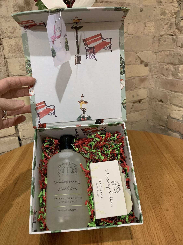 Whispering Willow Lemongrass Bath Wash & Bar Soap Curated Gift Box