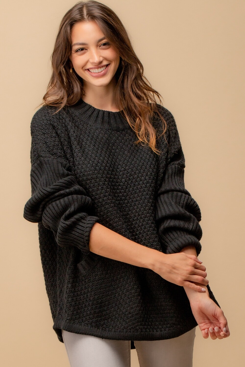 Chunky Knit Pullover with Front Pocket