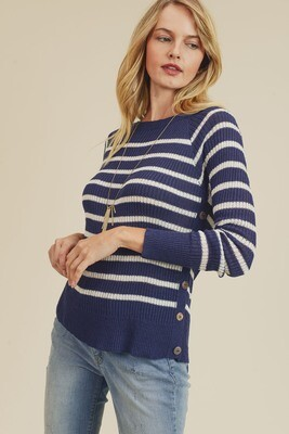 Stripe Sweater Top with Side Button Detail