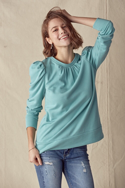 Puff Sleeve Sweatshirt - Dusty Sage
