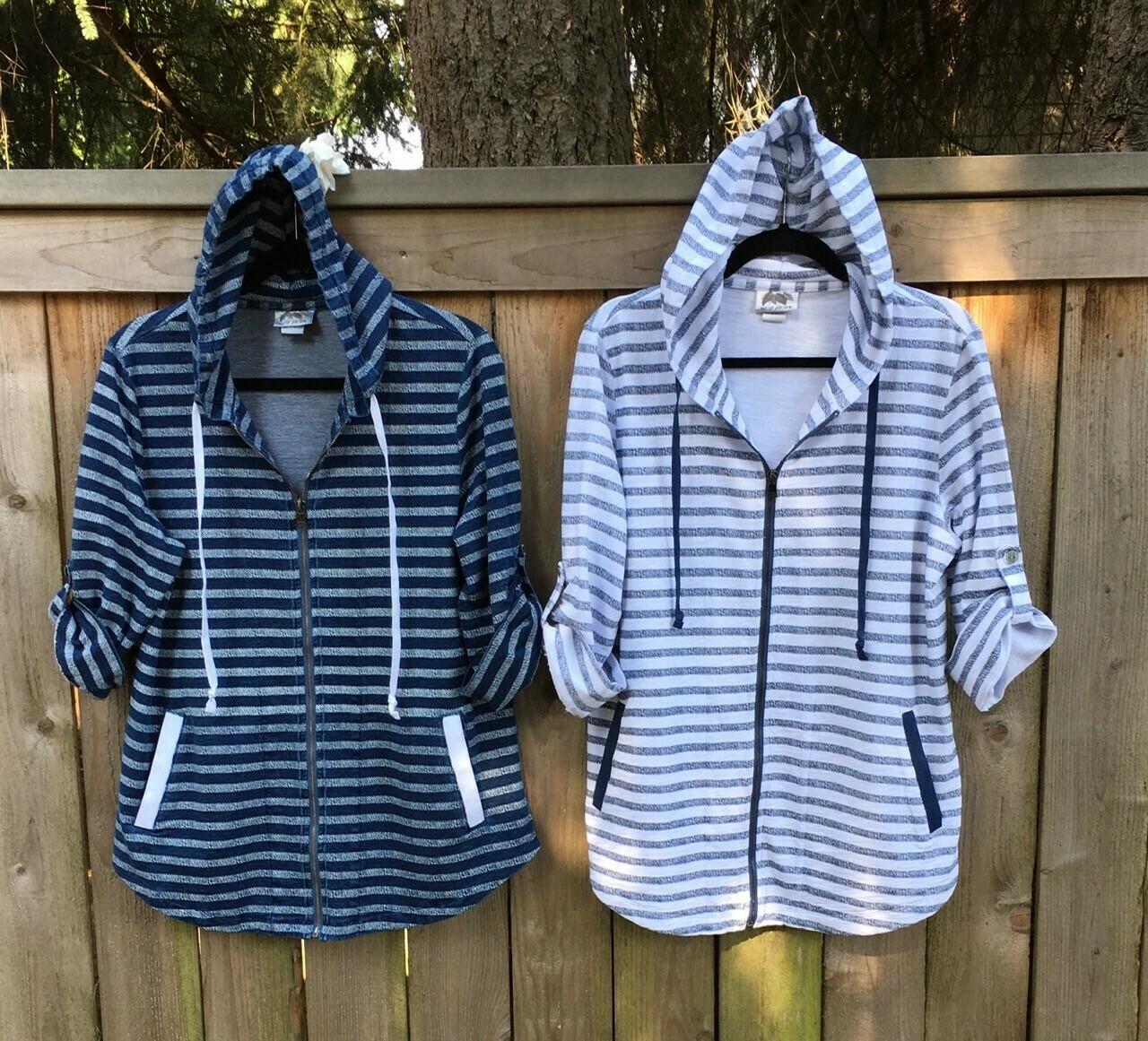 Shadow 3/4 Sleeve Jacket - White/Denim