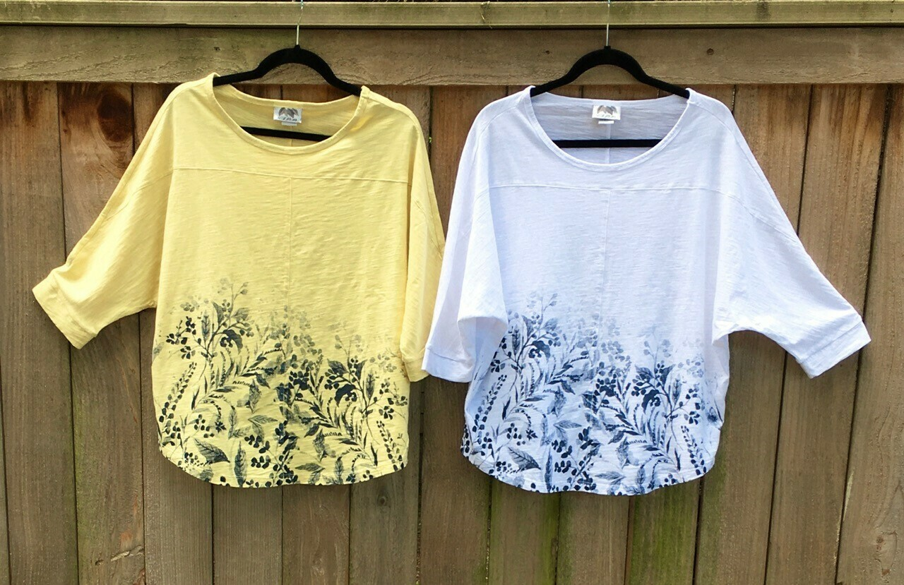 Spring Mixed Floral Crop Top - White/Taupe