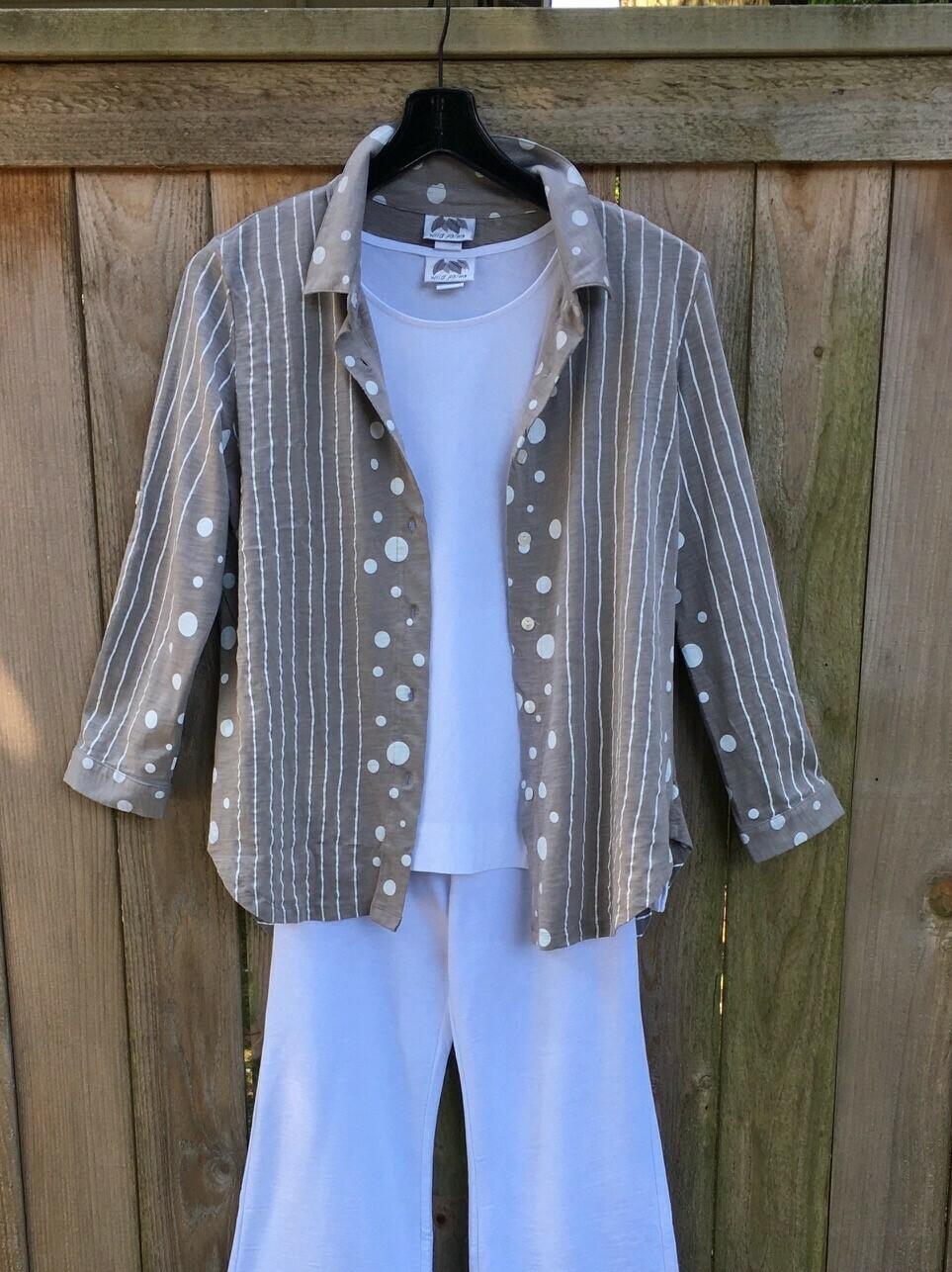 Stripes & Dots Bracelet Sleeve Shirt - White/Taupe