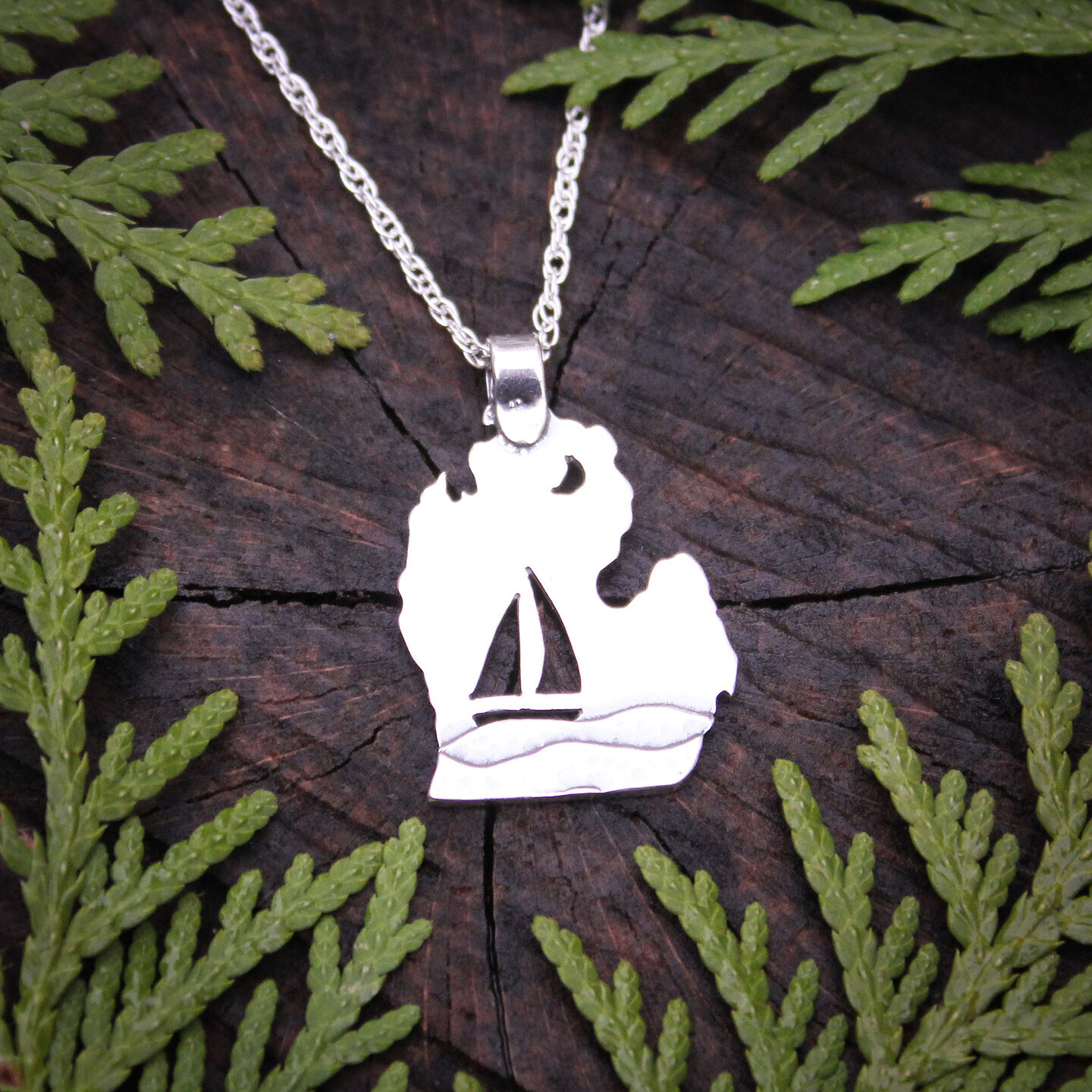 Michigan Sterling Silver Sailboat Necklace
