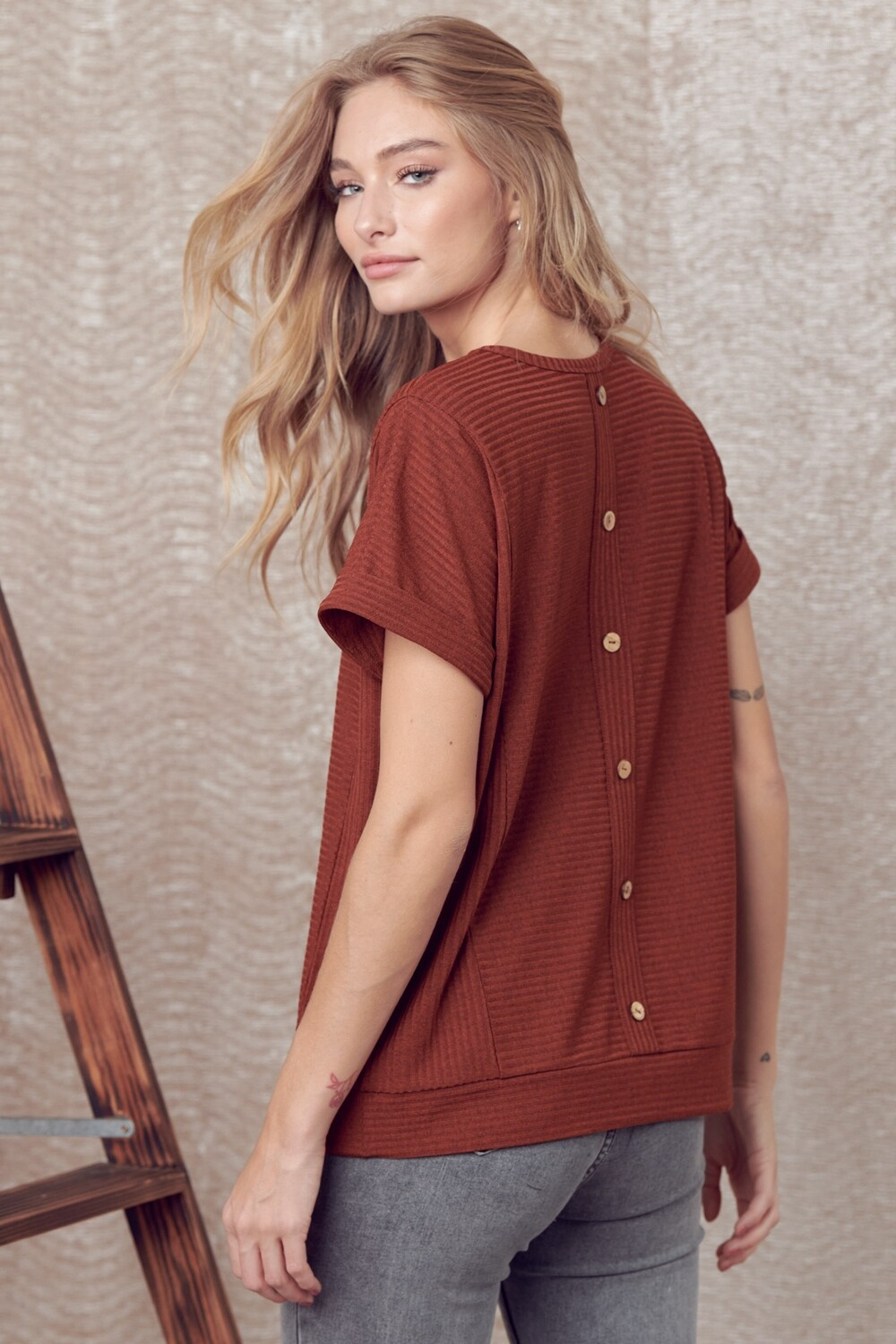 Cuffed Sleeve Top with Back Button