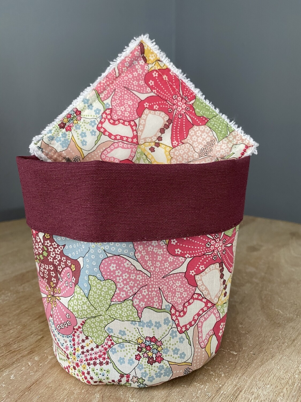 Pack Bolsita tela + lote 7 toallitas reutilizables Mauvey Pink