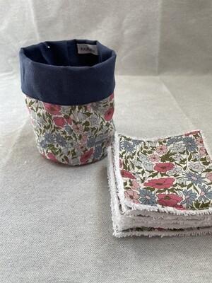 Pack Bolsita tela + lote 7 toallitas reutilizables Popy Pink