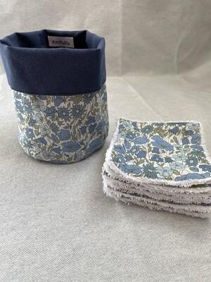Pack Bolsita tela + lote 7 toallitas reutilizables Popy Blue