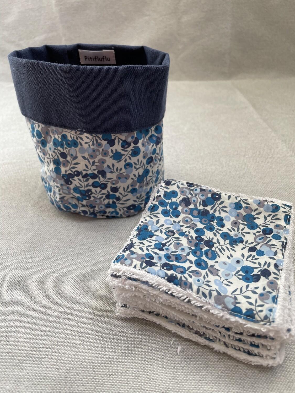 Pack Bolsita tela + lote 7 toallitas reutilizables Wiltshire Blue