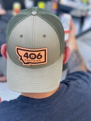 406 Precision Custom Leather Patch Hat