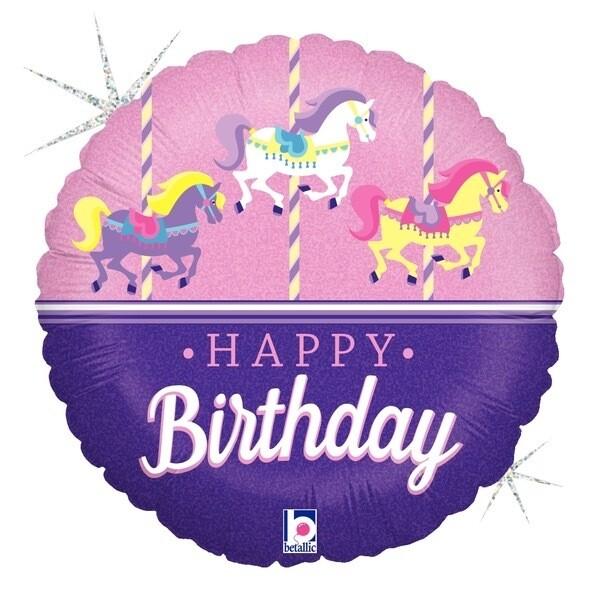 "18"" HBD Carousel Birthday 7810318"