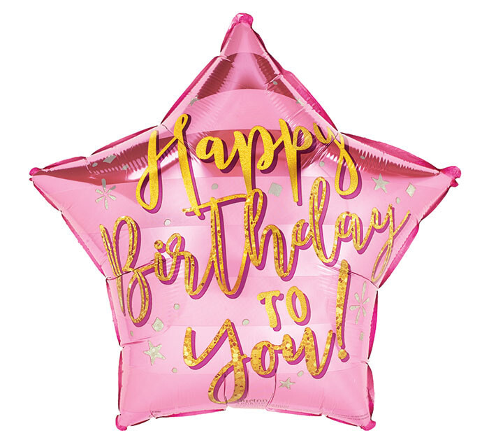 """17"""" HBD To You Gold Pink Star A6182618"""