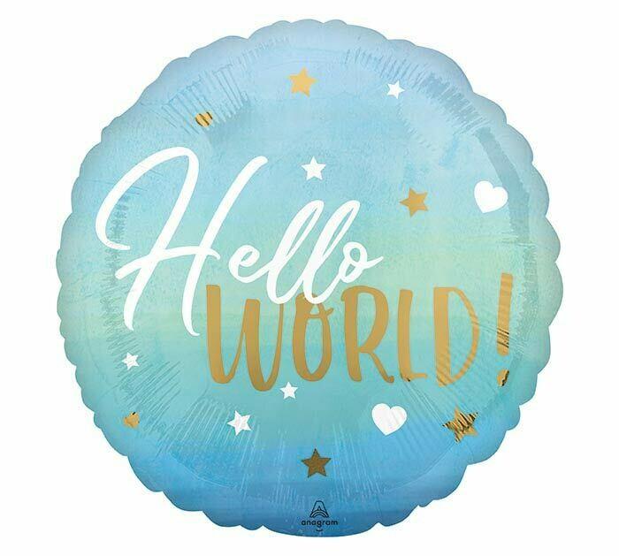 "17"" Hello World Blue Baby Balloon"