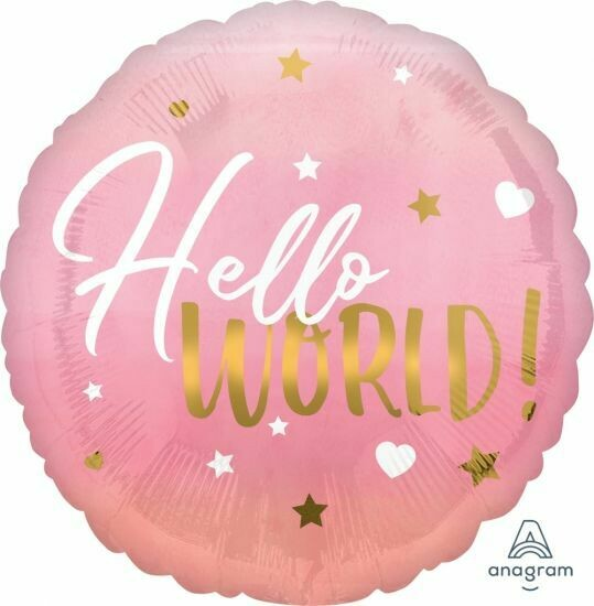 "17"" Hello World Pink Baby Balloon 4954518"
