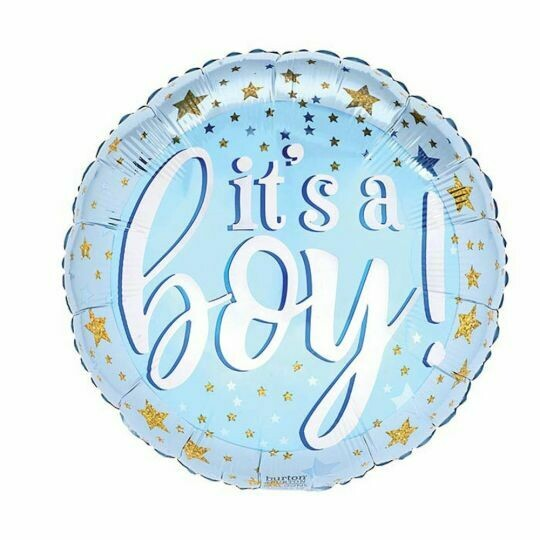 """17"""" it's a Boy Blue and Gold Stars Balloon A6706318"""