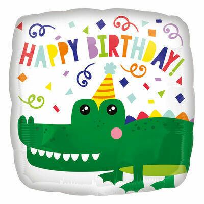 "17"" Birthday Confetti Alligator Balloon"
