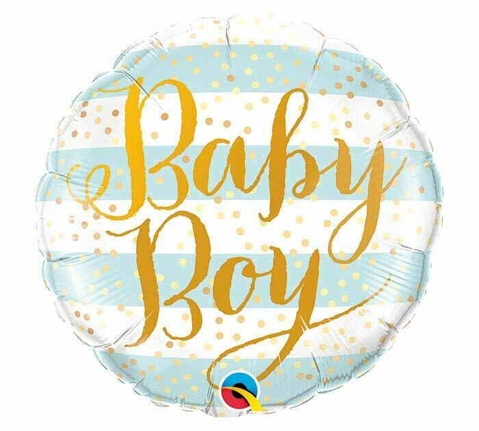 """18"""" Blue and White Baby Boy Balloon"""