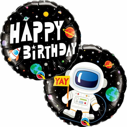 """18"""" Happy Birthday Astronaut Balloon"""