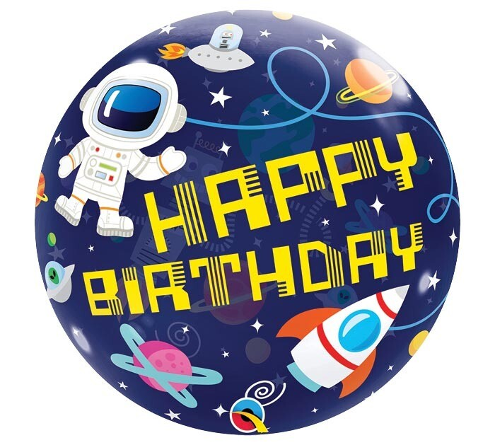 """22"""" Happy Birthday Outer Space Bubble Balloon"""
