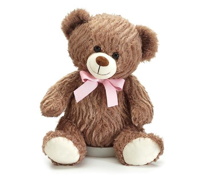 """12"""" Soft Teddy Bear w/ Pink Bow"""