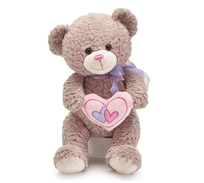 "17"" Double Heart Sitting Plush Bear"