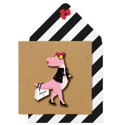 Pink Dinosaur Card
