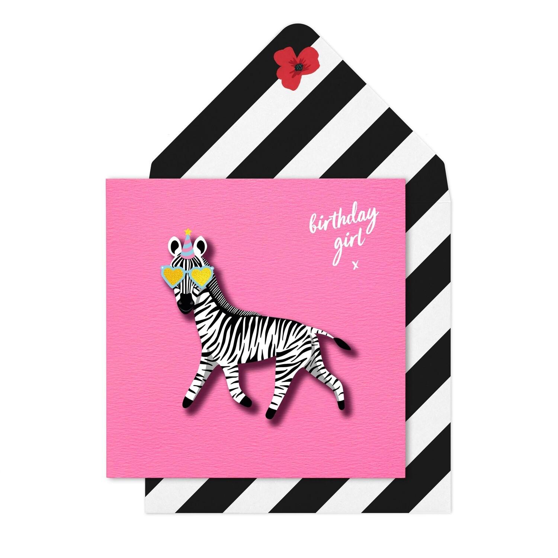 Birthday Girl Zebra Card