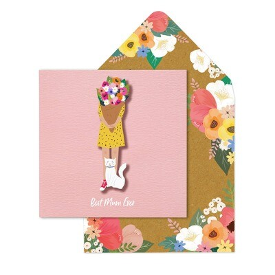 Best Mum Girl With Flowers Card
