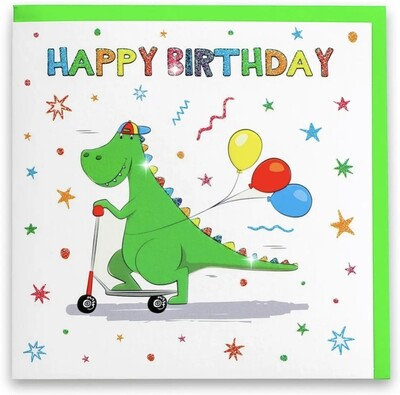 Happy Birthday Green Dinosaur Card