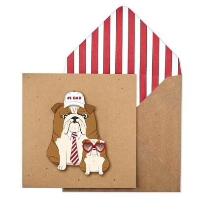 No. 1 Dad Bulldog and Son Card