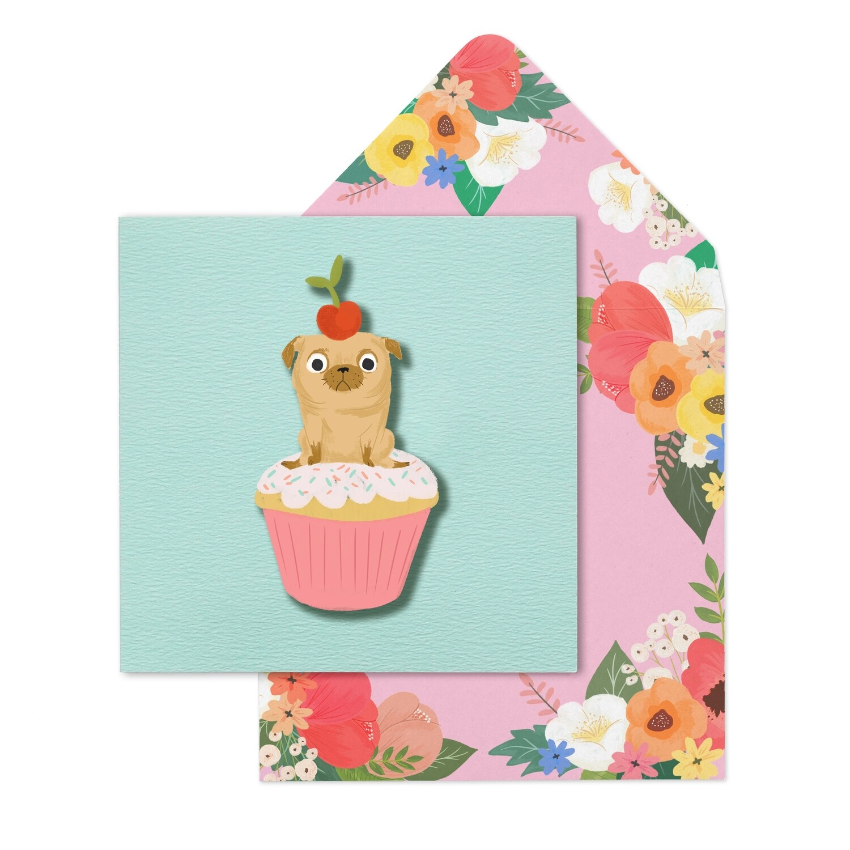 Happy Birthday Pug Cupcake Card