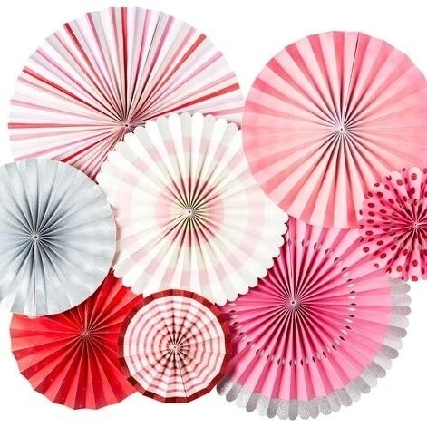 8pk Valentine Party Decor Fans