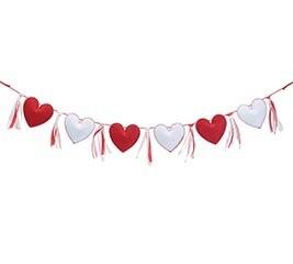 "41"" Heart & Ribbon Felt Garland"