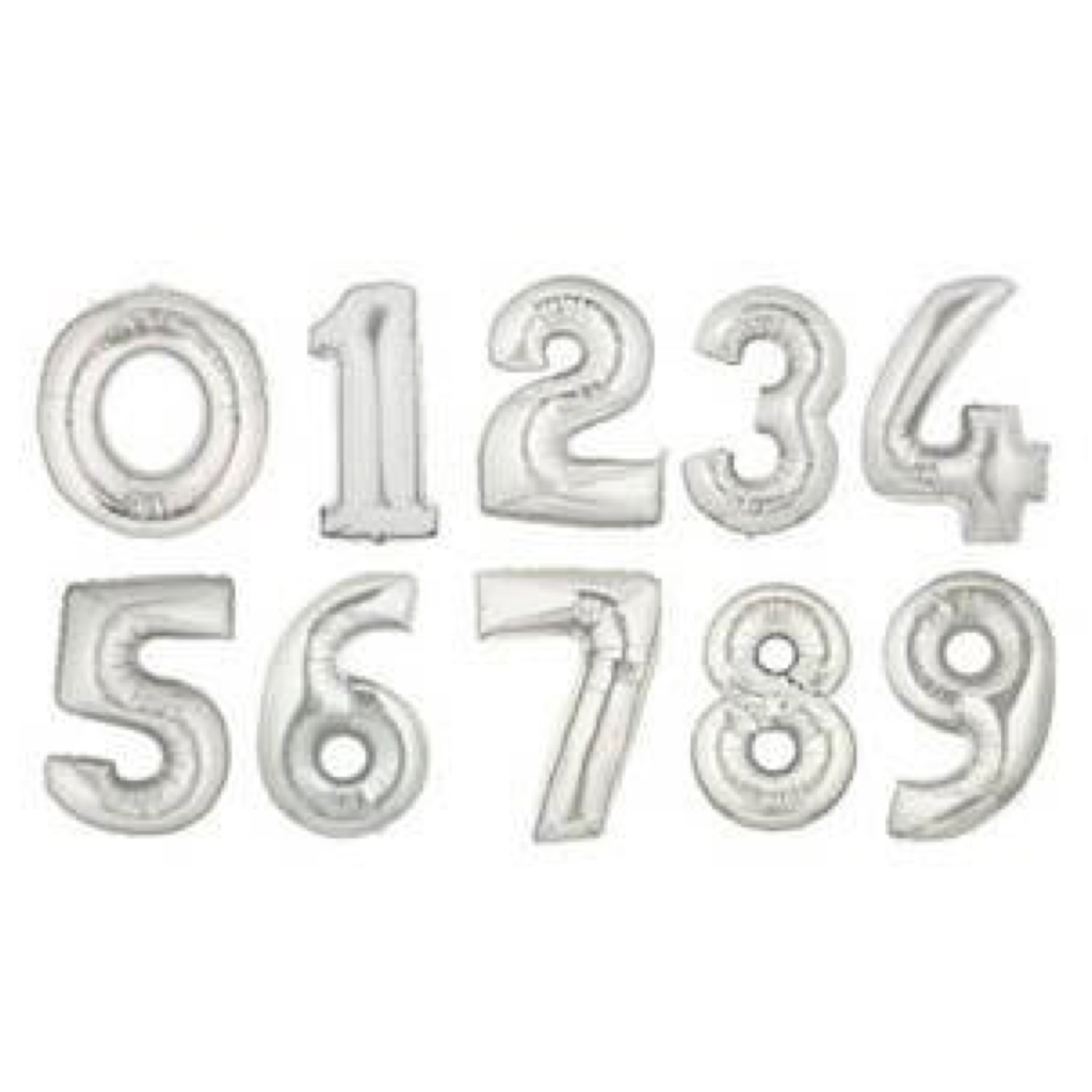 """14"""" Flat Silver Number Balloon"""