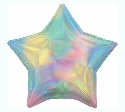 """19"""" Iridescent Pastel Rainbow Star Balloon"""