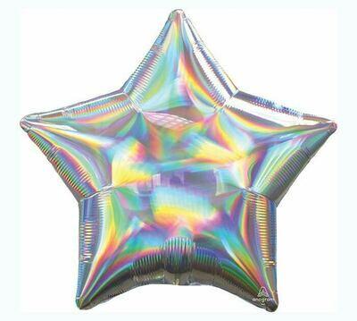 "19"" Sol. Iridescent Silver Star Holograph Balloon"