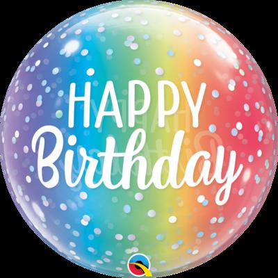 "22"" Happy Bday Ombre Dot Deco Bubble Balloon"