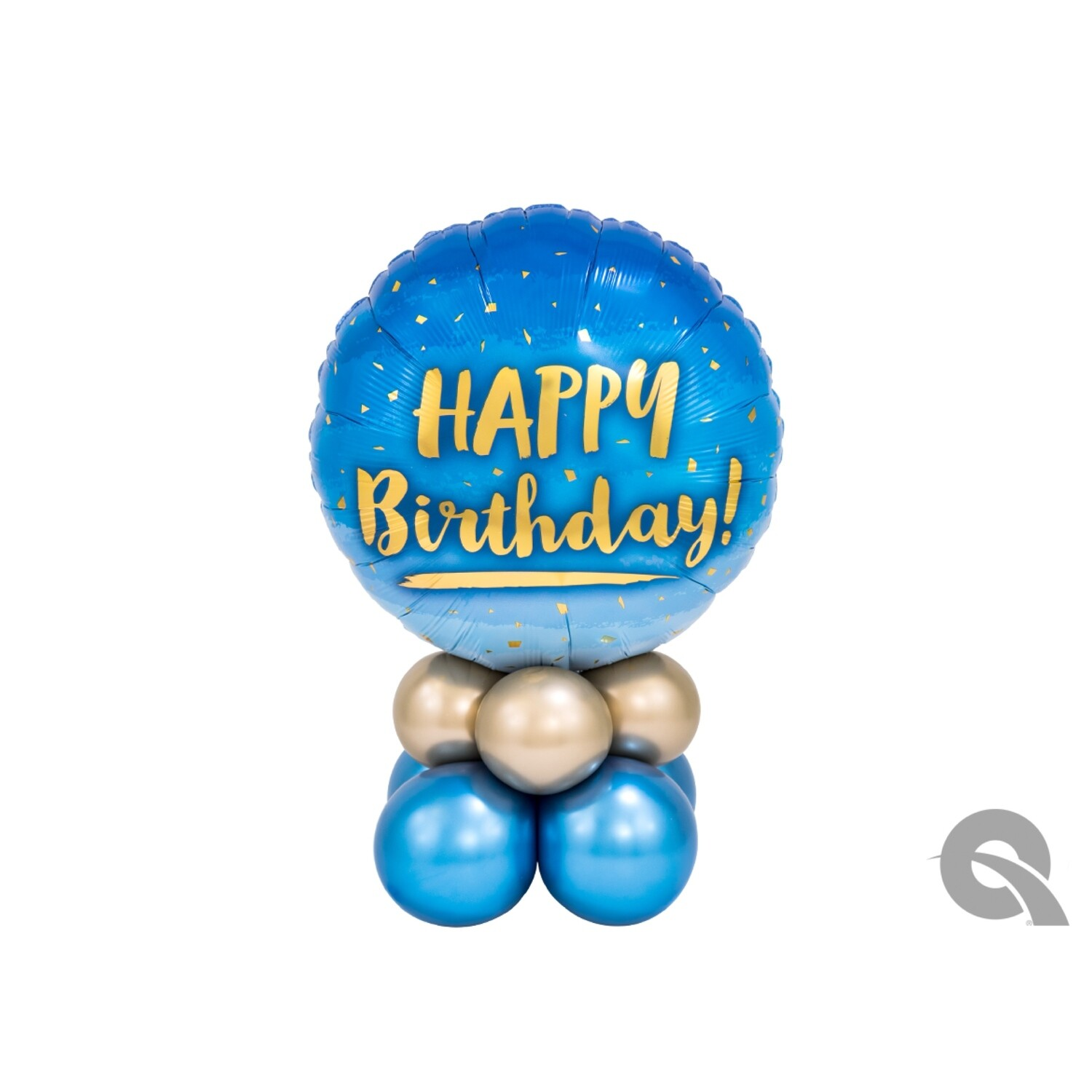Happy Birthday Blue & Gold Balloon Bouquet Designs