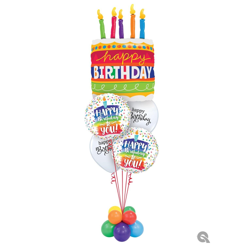 Happy Birthday Cake Balloon Bouquet Designs
